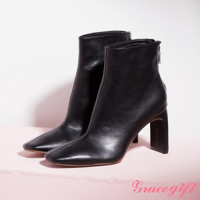Grace gift-方頭扁跟皮革短靴 黑