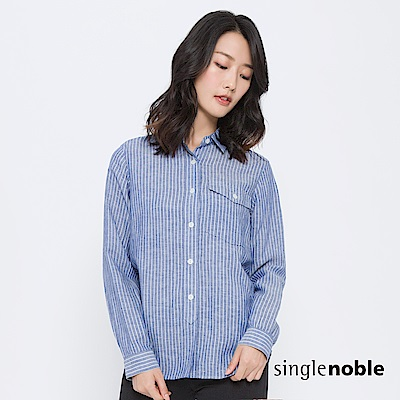 獨身貴族 遊走曼哈頓口袋設計條紋襯衫(1色)