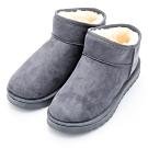 River&Moon雪靴-韓版簡約厚毛Q軟底斜口短靴-灰