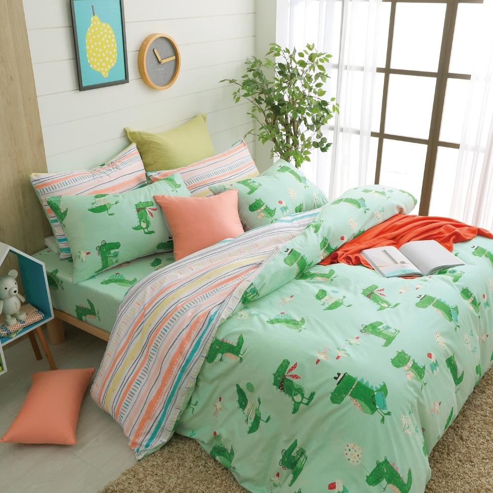 鴻宇 100%精梳棉 艾倫的日常 雙人四件式兩用被套床包組