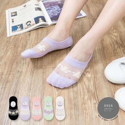 阿華有事嗎  韓國襪子 透膚三朵小花隱形襪  韓妞必備 正韓百搭純棉襪