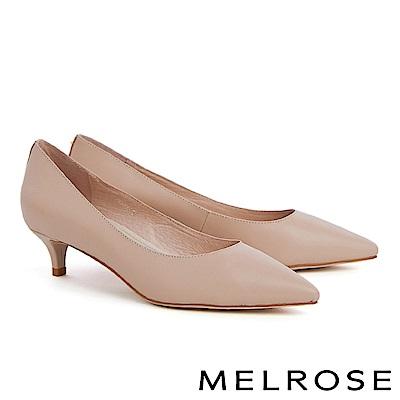 高跟鞋 MELROSE 簡約質感金色鉚釘羊皮尖頭高跟鞋-米