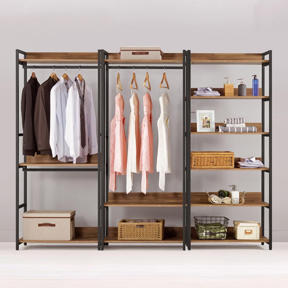 Boden-諾德8尺開放式組合衣櫃(雙吊+單桿+多層收納)-240x44x191cm