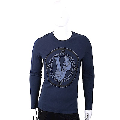 VERSACE VJ 編織圖印深藍色棉質T恤(展示品)