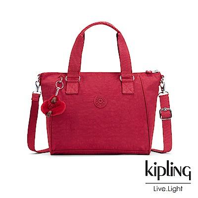 Kipling 燦爛緋紅手提側背包-AMIEL
