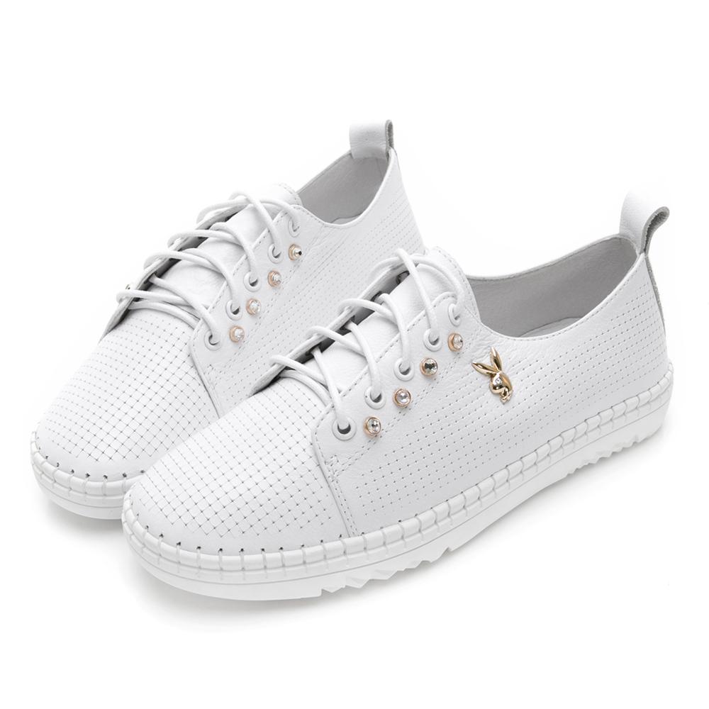 PLAYBOY輕奢學院 側排鑽真皮綁帶休閒鞋-白