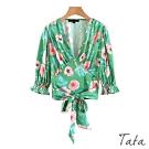 V領綁帶印花束口袖短版上衣 TATA-(S/M)