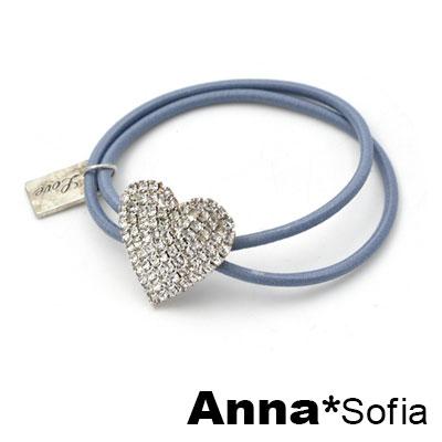 AnnaSofia 幾何滿鑽墜雙繩 純手工彈性髮束髮圈髮繩(藍繩-心墜系)