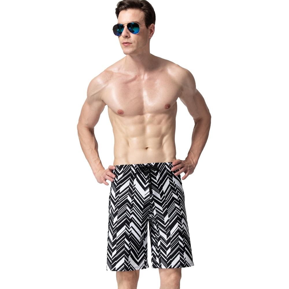 沙兒斯 泳裝 灰黑斜紋七分海灘男泳褲