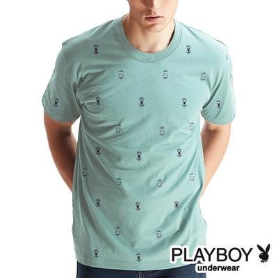 PLAYBOY_MIT棉質彩色印花圓領短袖T恤-湖水綠