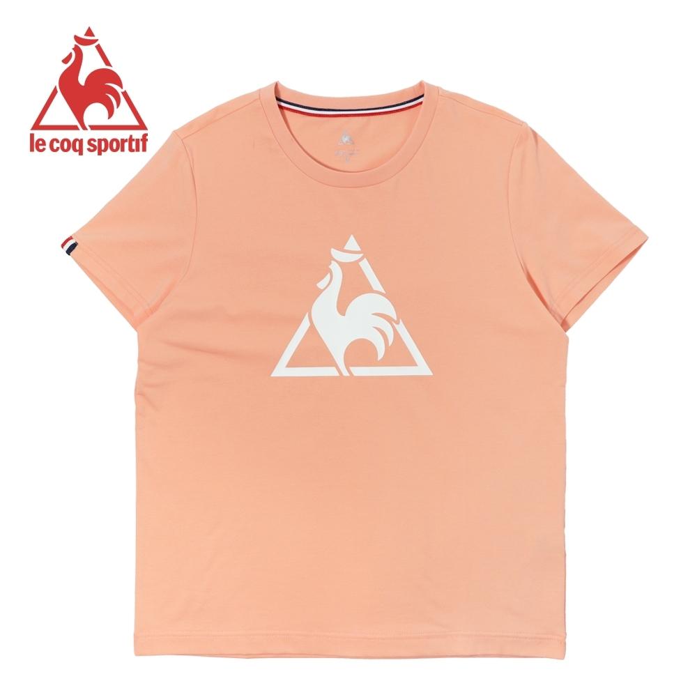 le coq sportif法國公雞牌胸前LOGO印花休閒運動短袖T恤 男女-嫩橘