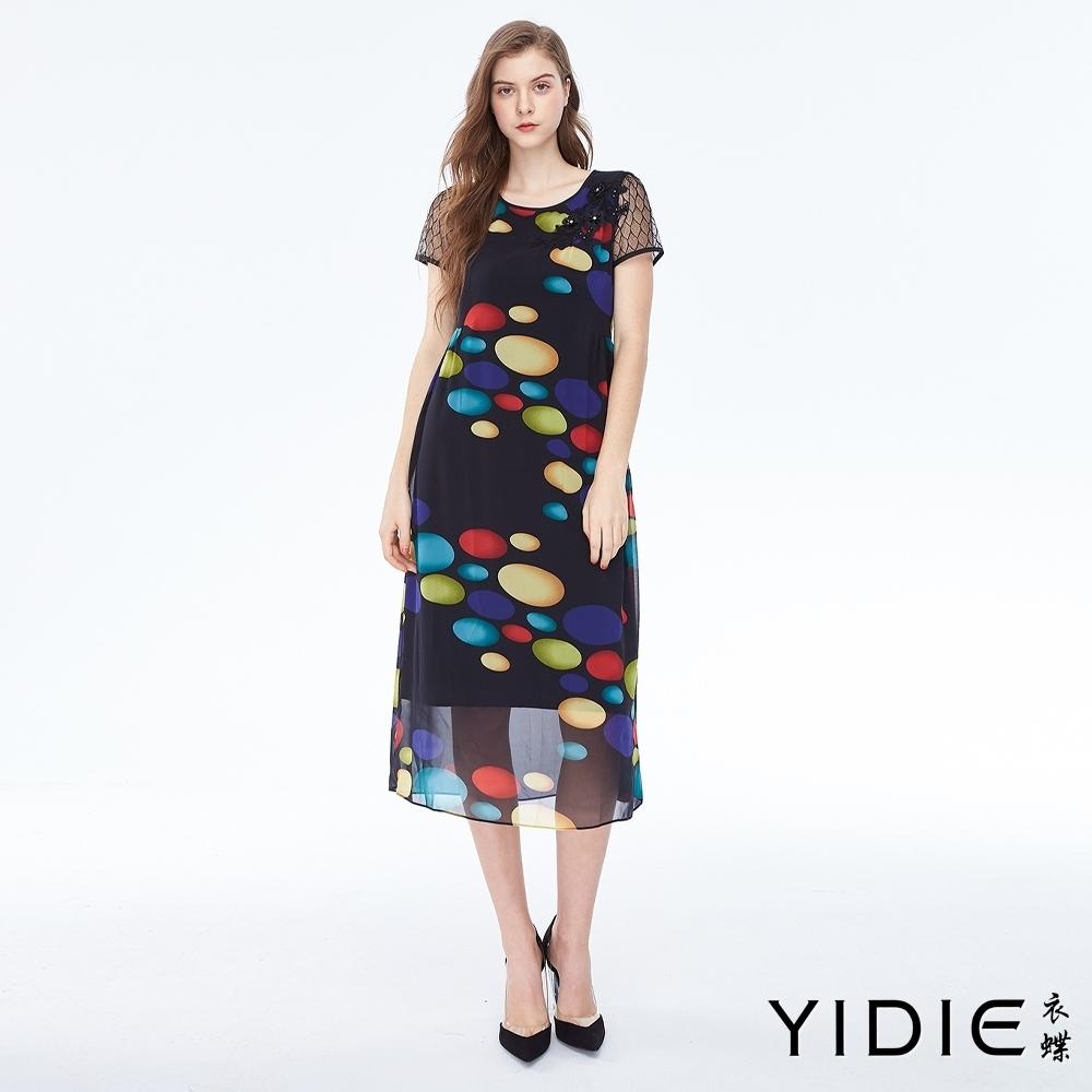 YIDIE衣蝶 蕾絲櫻花連身洋裝
