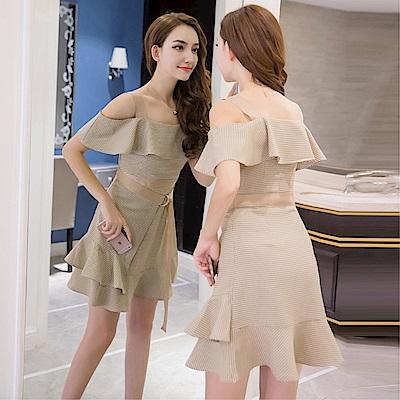 DABI 韓系時尚修身顯瘦露肩荷葉邊不規則短袖洋裝
