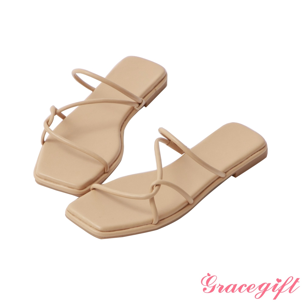 Grace gift-層次細帶平底涼拖鞋 杏色