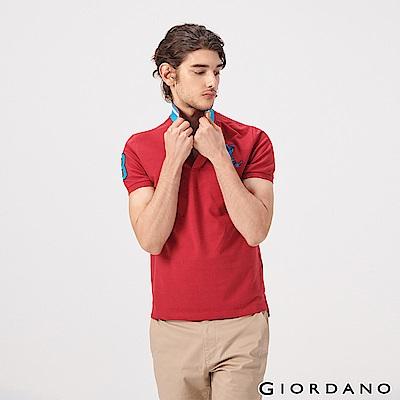 GIORDANO 男裝經典拿破崙撞色刺繡彈力萊卡POLO衫-08 標誌紅