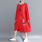 抽象繡線不規則寬鬆棉麻連身裙M-2XL(共四色)-Keer