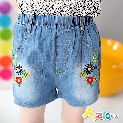 Azio Kids 童裝-短褲 彩色線繡花朵後雙口袋短褲 (藍)