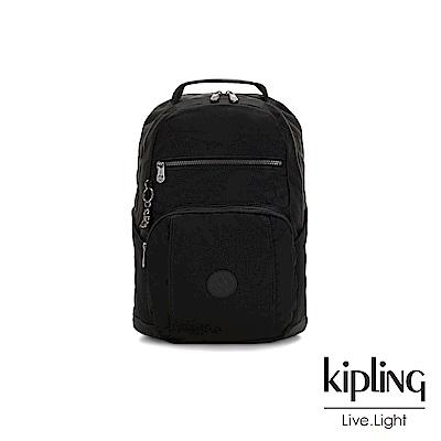 Kipling 極致低調黑前後雙層收納後背包-TROY