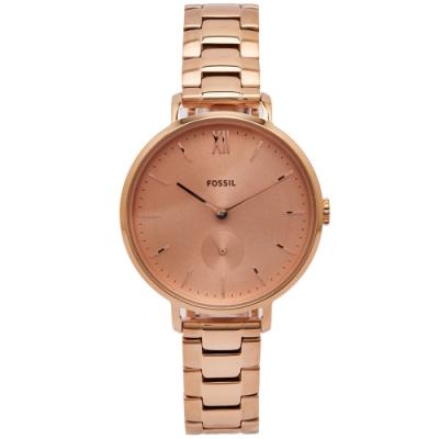 FOSSIL Kalya 玫瑰金色小秒針手錶(ES4571)-玫瑰金面X玫瑰金色/36mm