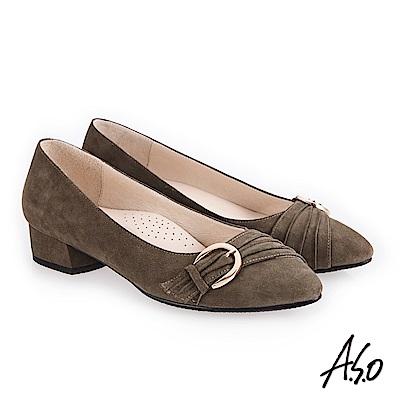 A.S.O 義式簡約 實穿百搭都會真皮跟鞋 橄欖綠