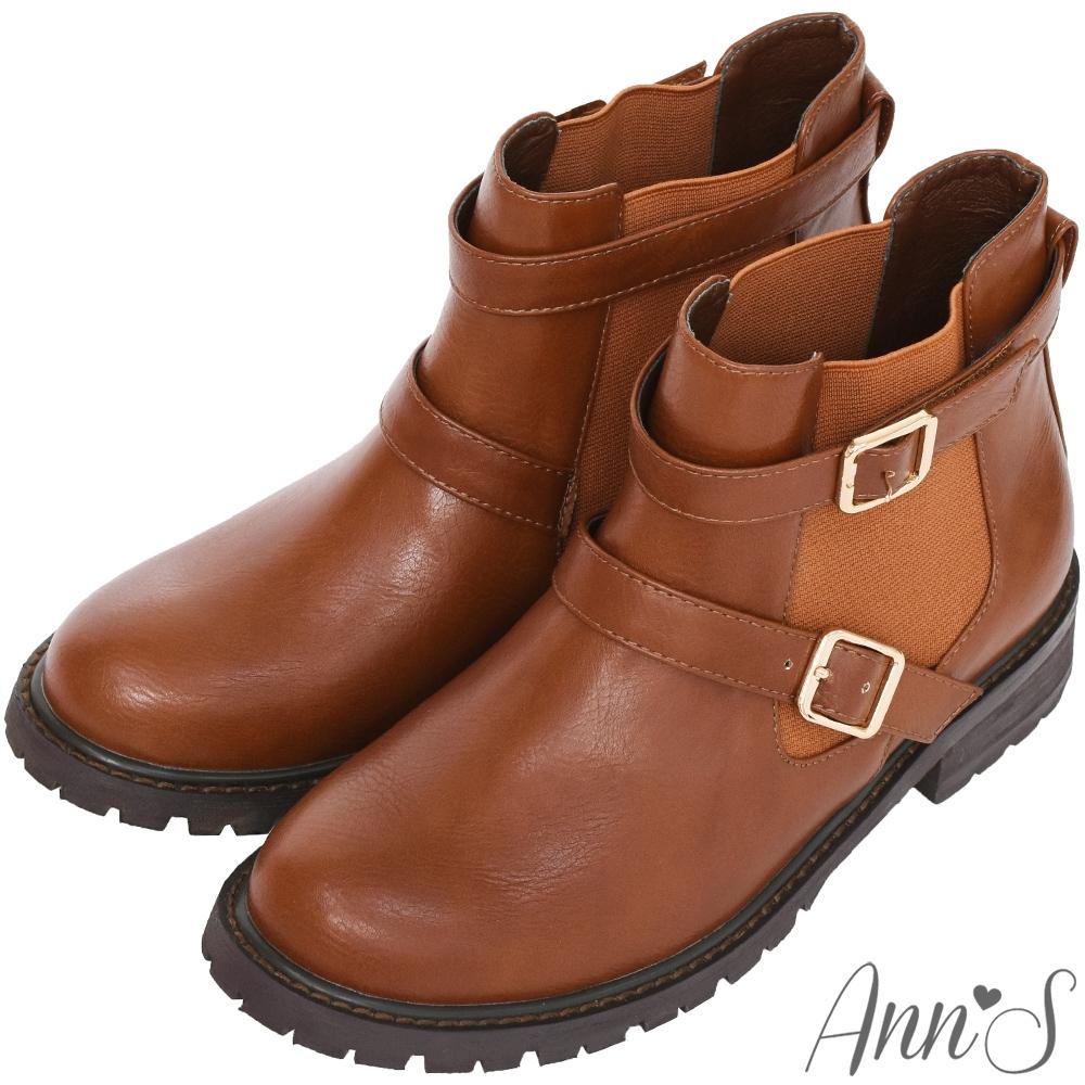 Ann'S兩穿雙扣帶後跟星星鉚釘小男孩平底短靴-咖