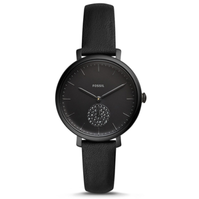 FOSSIL 心機不敗小秒針水鑽真皮腕表(ES4490)-黑x36mm