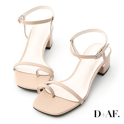 D+AF 繽紛涼夏.一字套指細帶中跟涼鞋*杏