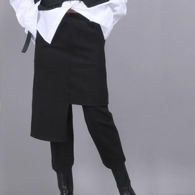 設計所在Style-新款港風假倆件設計黑色高腰修身顯瘦九分裙褲