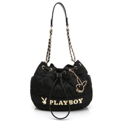 PLAYBOY-  鍊帶抽繩水桶包 金典小兔系列 -黑色