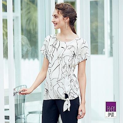 ILEY伊蕾 抽象線條印花連袖上衣(白)