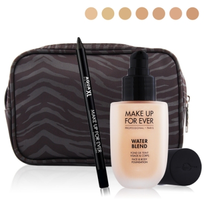 MAKE UP FOR EVER恆久親膚底妝眼線組-雙用水粉霜+眼線筆+化妝包