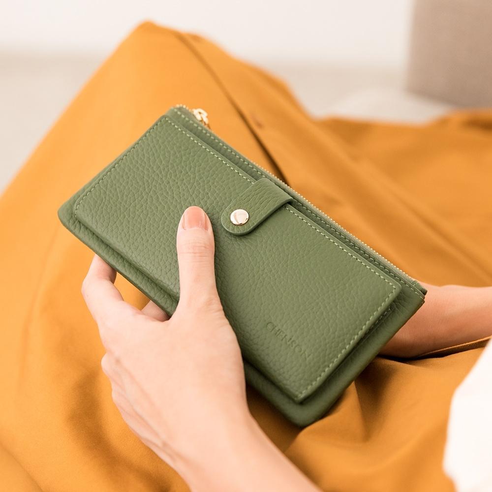 CHENSON真皮13卡超薄2.0典雅長夾皮夾手機包 海松綠(W28110-G)