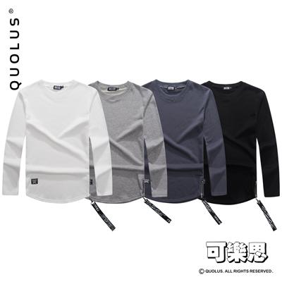 可樂思 MA1織帶 素面厚棉 圓領 男生長袖T恤 長T 男