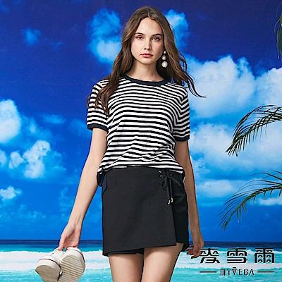 【麥雪爾】純棉水鑽蝴蝶結條紋針織衫-藍