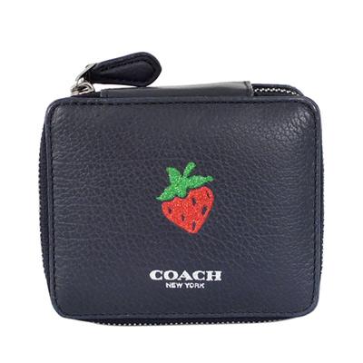 COACH深藍全皮亮粉草莓貼飾珠寶收納盒(小)