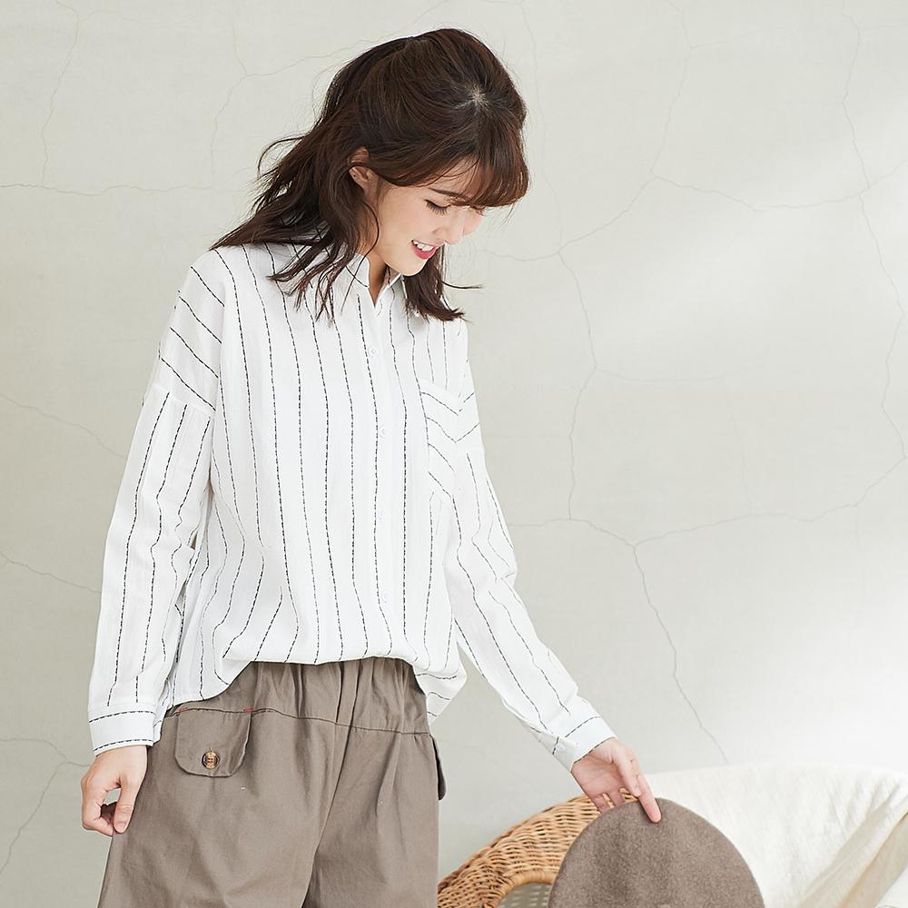 慢 生活楊柳肌理直條襯衫 白色