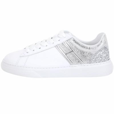HOGAN H365 亮片細節拼接繫帶都市滑板鞋(白色)