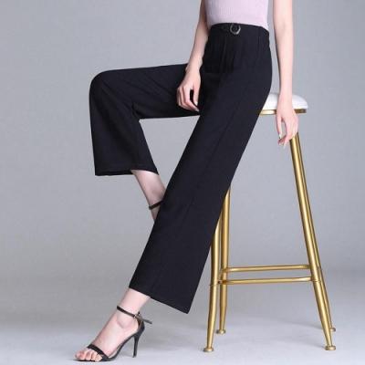簡約高腰彈力提臀鬆緊黑色小寬褲XL-5XL-WHATDAY