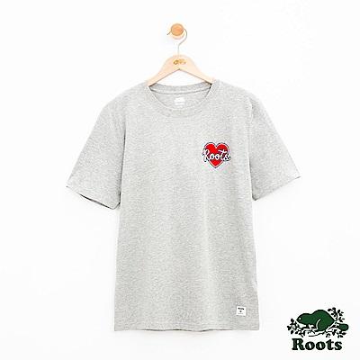 男裝Roots 情人節左胸愛心短袖T恤-灰