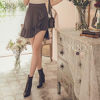 東京著衣-yoco 美腿第一名設計荷葉拼接短裙-S.M.L(共二色)