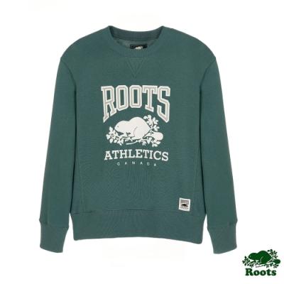 女裝Roots RBA 男友版型圓領上衣-綠
