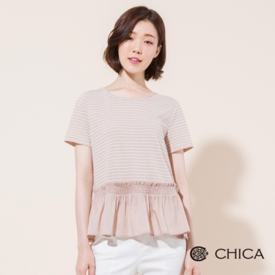 CHICA 清新日常條紋拼接短袖上衣(色)