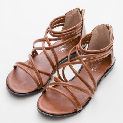 River&Moon涼鞋 台灣製細交叉繞帶後拉鍊羅馬涼鞋 棕