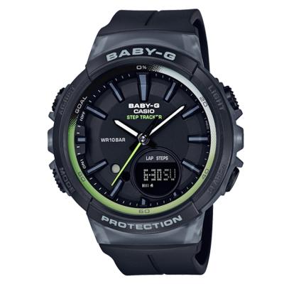 BABY-G 熱愛運動女性配備計步設計閒錶(BGS-100-1A)黑色42.6mm
