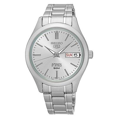 SEIKO精工  時尚熟女夜光5號自動上鍊機械腕錶(SNK887K1)-白/34mm