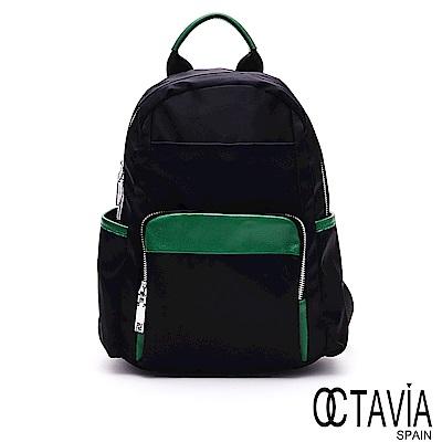 OCTAVIA8 - 蜻蜓飛 強化尼龍撞色口袋小型後背包- 點點綠