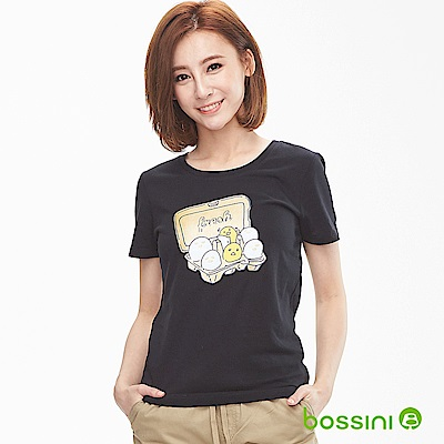 bossini女裝-印花短袖T恤06黑