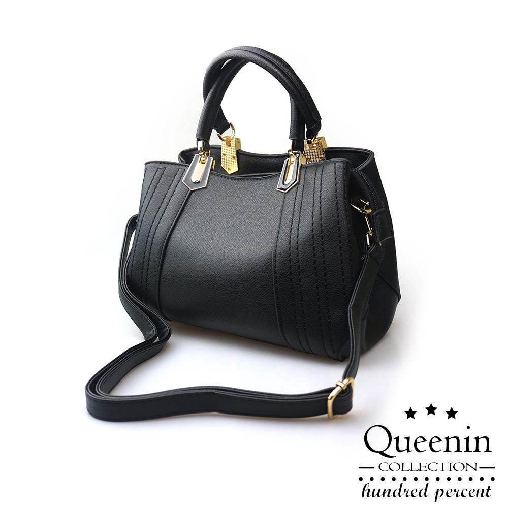 DF Queenin日韓 - 低調輕奢3WAYS雙層手提側肩包