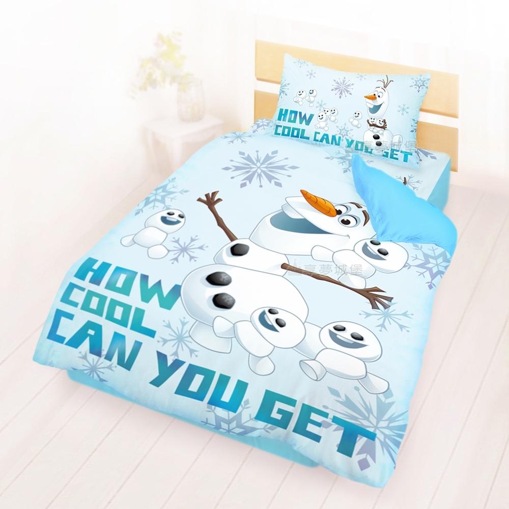 享夢城堡 單人床包雙人涼被三件組-冰雪奇緣FROZEN迪士尼 雪寶與小雪人-藍