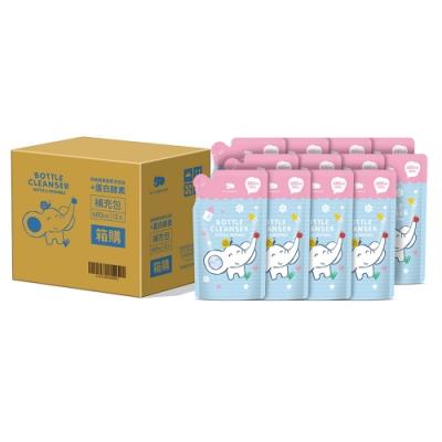【les enphants 麗嬰房】 奶瓶蔬果酵素洗潔液-補充包 (箱購)680MLx12入(無香/鳳梨香 任選)